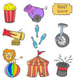 colorful circus element of doodle style vector image