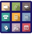 Set of flat office icons vector image vector image