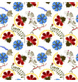 Seamless texture with red and blue flowers vector image vector image