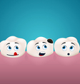 Three teeth look at the hole in one of them vector image