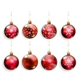 Set of red Christmas balls vector image