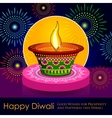 Happy Diwali background with diya and firecracker vector image