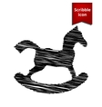 Horse toy icon with pen effect vector image