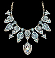 beautiful female necklace with precious stones on vector image
