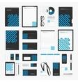 Blue line corporate identity template vector image