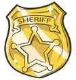 Cartoon golden sheriffs badge vector image