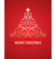 Christmas tree from flourishes calligraphic backgr vector image
