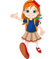 Girl go to school vector image