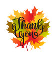 happy thanksgiving day card with maple leaves vector image