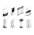 isometric gradient exhibition stands icons set vector image