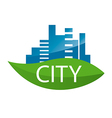 logo city on a green leaf vector image