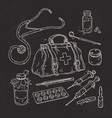 set of medical tools doctor bag medicines pills vector image