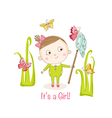 Baby Girl with Butterflies - Baby Shower Card vector image vector image