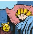 woman sleeping with alarm waking up pop art comic vector image