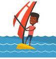 young man windsurfing in the sea vector image