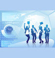 cheerful group of business people silhouette happy vector image