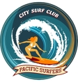 Surfing badge design with a girl surfing vector image
