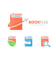 Book and airplane logo combination vector image