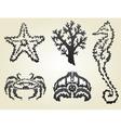 decorative sea animals vector image