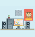 flat design of modern office interior with vector image