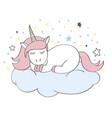 funny cartoon unicorn character sleeping on cloud vector image