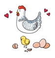 Hen and her seven eggs on a white background vector image