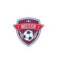 soccer team badge with football sport ball vector image