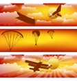 Three horizontal stripes with sunset sky vector image