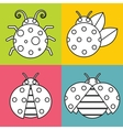 White ladybugs with stroke on color background vector image