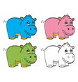 Cute cartoon baby hippo vector image vector image