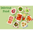 Meat and vegetable dinner dishes icon vector image vector image