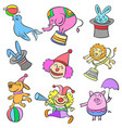 element circus cute animal doodles vector image
