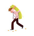 man carrying bundle of banknotes on his back vector image
