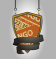 wooden shield sign with bingo cards and rope vector image vector image