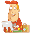 tourist work anywhere laptop vector image