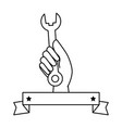 hand worker with wrench tool isolated icon vector image