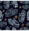 Seamless tribal pattern with hands vector image