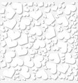 seamless white origami pattern with hearts vector image