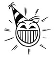 stickman cartoon of happy smiling head with party vector image