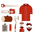Wood and Tools of Lumberjack in Flat Style vector image