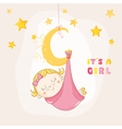 Baby Girl Sleeping on a Moon - Baby Shower Card vector image