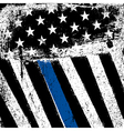 American Flag with Thin Blue Line Grunge Patriotic vector image