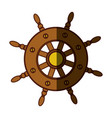 colorful silhouette of boat helm with middle vector image