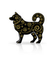 stylized dog with gold ornament vector image