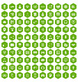 100 it business icons hexagon green vector image