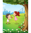 A wedding proposal near the tree vector image