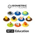 Isometric flat icons set 15 vector image