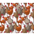 Birds chicken big group color seamless pattern vector image