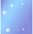 Blue background with glowing dots and stars vector image
