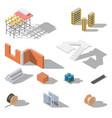 building elements isometric icon set vector image